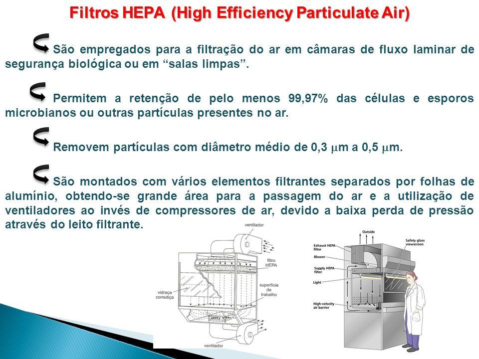 """Filtros HEPA (High Efficiency Particulate Air) São empregados para a filtração do ar em câmaras de fluxo laminar de segurança biológica ou em """"salas l"""
