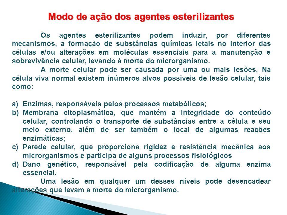 Modo de ação dos agentes esterilizantes Os agentes esterilizantes podem induzir, por diferentes mecanismos, a formação de substâncias químicas letais