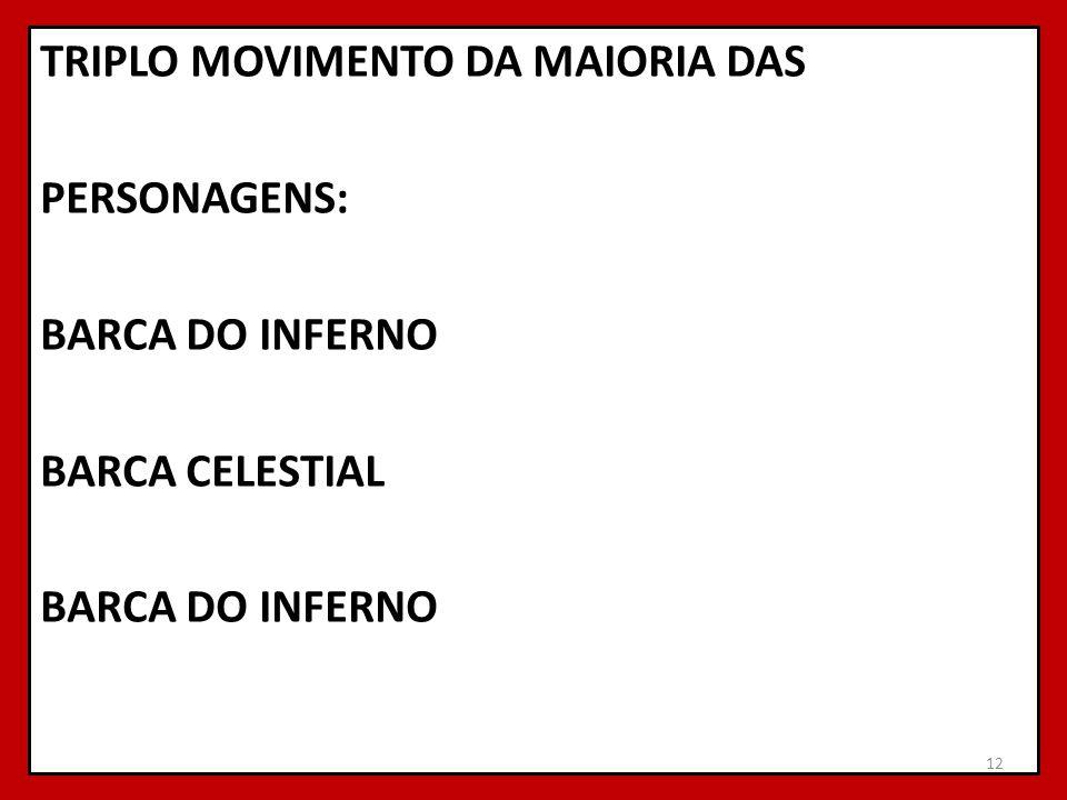 TRIPLO MOVIMENTO DA MAIORIA DAS PERSONAGENS: BARCA DO INFERNO BARCA CELESTIAL BARCA DO INFERNO 12