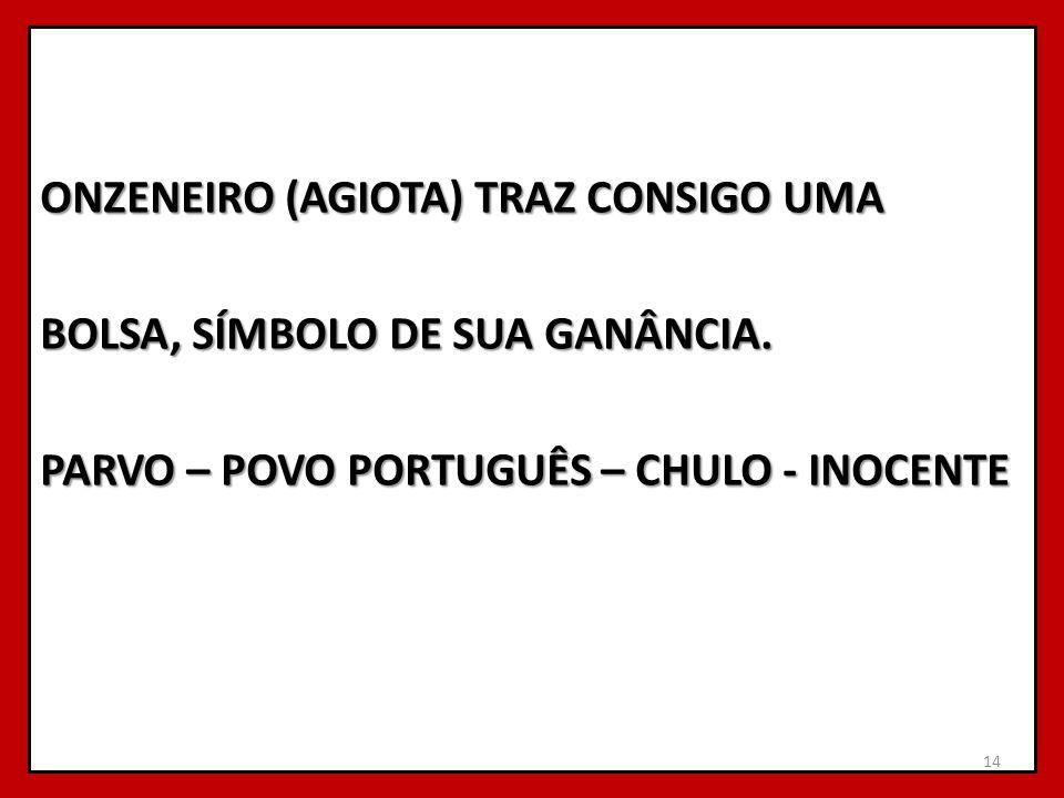 ONZENEIRO (AGIOTA) TRAZ CONSIGO UMA BOLSA, SÍMBOLO DE SUA GANÂNCIA. PARVO – POVO PORTUGUÊS – CHULO - INOCENTE 14