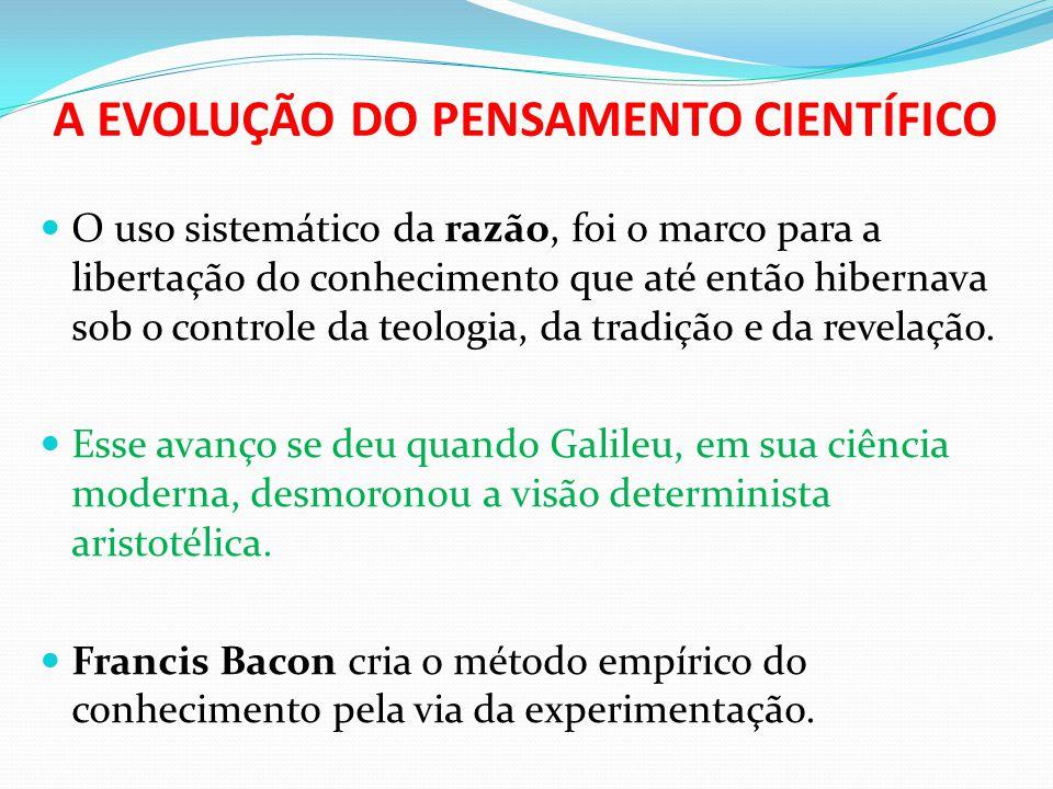 A EVOLUÇÃO DO PENSAMENTO CIENTÍFICO  O uso sistemático da razão, foi o marco para a libertação do conhecimento que até então hibernava sob o controle