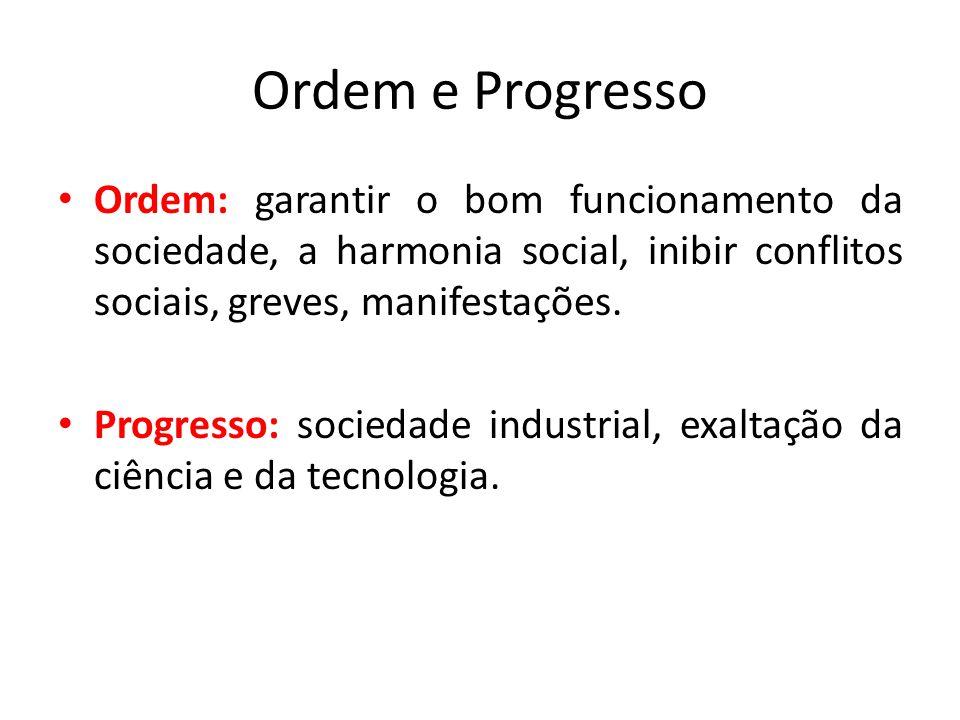 Ordem e Progresso • Ordem: garantir o bom funcionamento da sociedade, a harmonia social, inibir conflitos sociais, greves, manifestações. • Progresso: