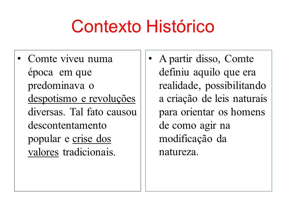 Contexto Histórico • Comte viveu numa época em que predominava o despotismo e revoluções diversas. Tal fato causou descontentamento popular e crise do