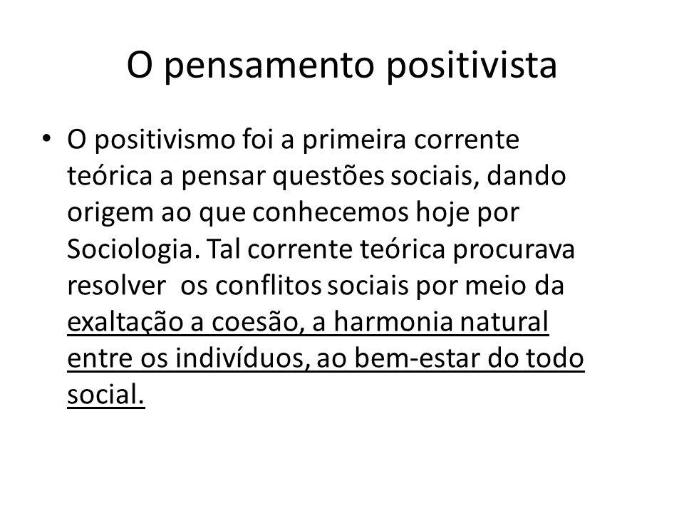 O pensamento positivista • O positivismo foi a primeira corrente teórica a pensar questões sociais, dando origem ao que conhecemos hoje por Sociologia