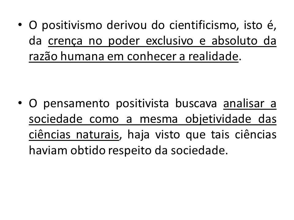 • O positivismo derivou do cientificismo, isto é, da crença no poder exclusivo e absoluto da razão humana em conhecer a realidade. • O pensamento posi