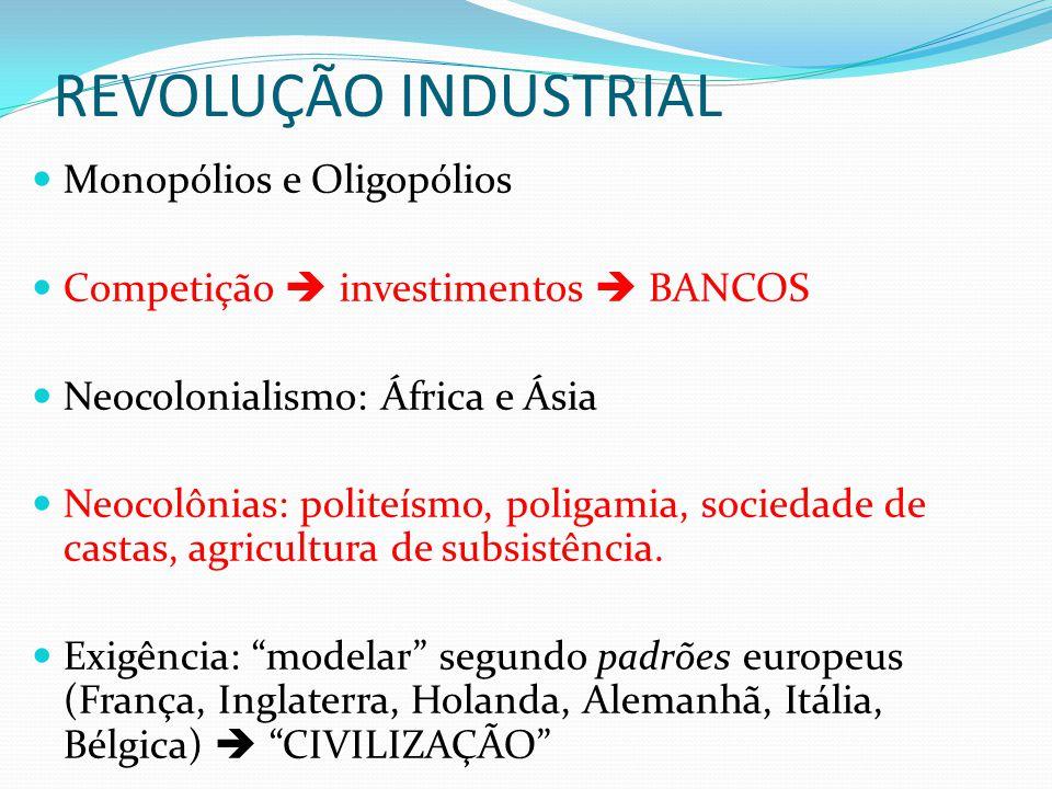 REVOLUÇÃO INDUSTRIAL  Monopólios e Oligopólios  Competição  investimentos  BANCOS  Neocolonialismo: África e Ásia  Neocolônias: politeísmo, poli