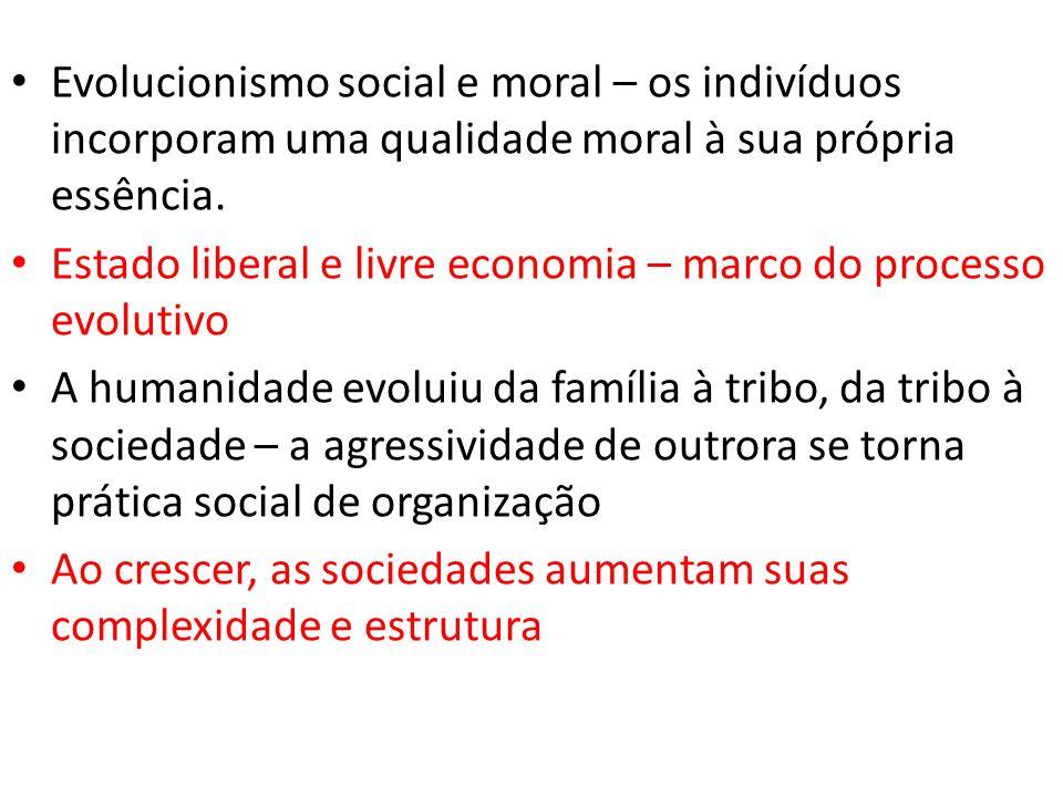 • Evolucionismo social e moral – os indivíduos incorporam uma qualidade moral à sua própria essência. • Estado liberal e livre economia – marco do pro