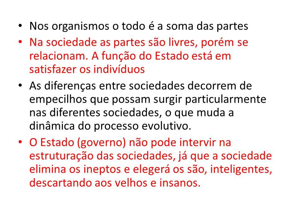 • Nos organismos o todo é a soma das partes • Na sociedade as partes são livres, porém se relacionam. A função do Estado está em satisfazer os indivíd