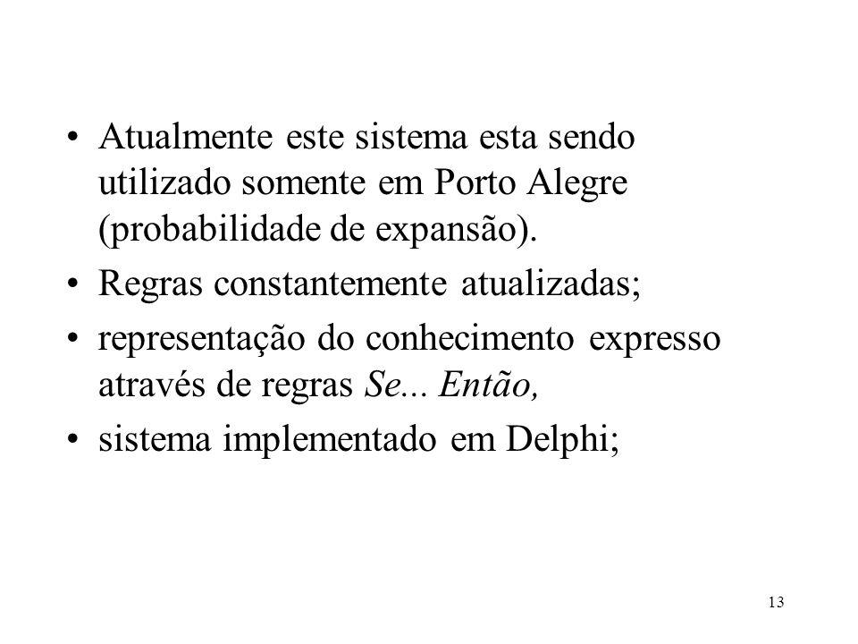 13 •Atualmente este sistema esta sendo utilizado somente em Porto Alegre (probabilidade de expansão). •Regras constantemente atualizadas; •representaç