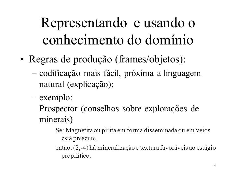 3 Representando e usando o conhecimento do domínio •Regras de produção (frames/objetos): –codificação mais fácil, próxima a linguagem natural (explica