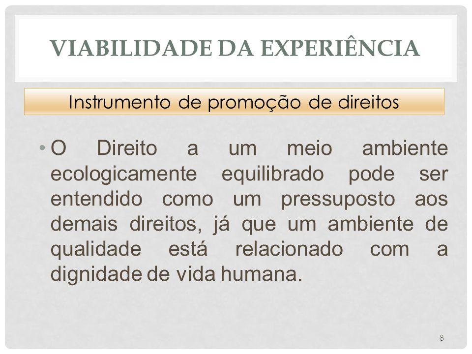 VIABILIDADE DA EXPERIÊNCIA •O Direito a um meio ambiente ecologicamente equilibrado pode ser entendido como um pressuposto aos demais direitos, já que um ambiente de qualidade está relacionado com a dignidade de vida humana.