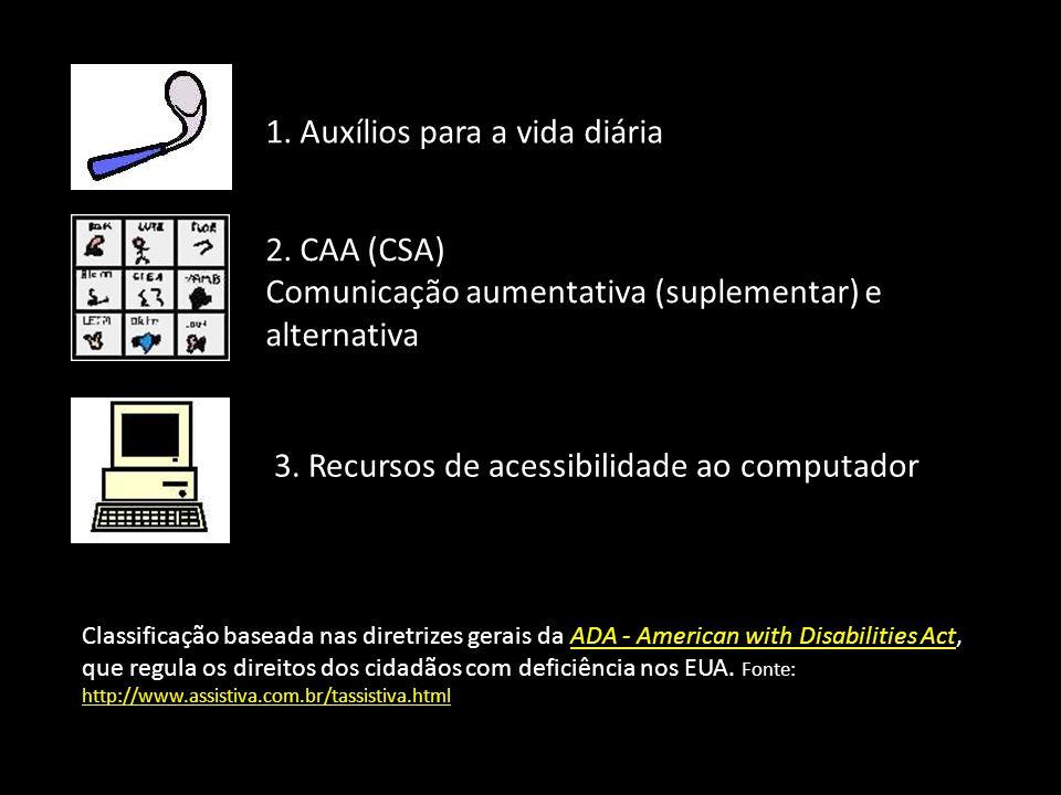 Classificação baseada nas diretrizes gerais da ADA - American with Disabilities Act, que regula os direitos dos cidadãos com deficiência nos EUA. Font