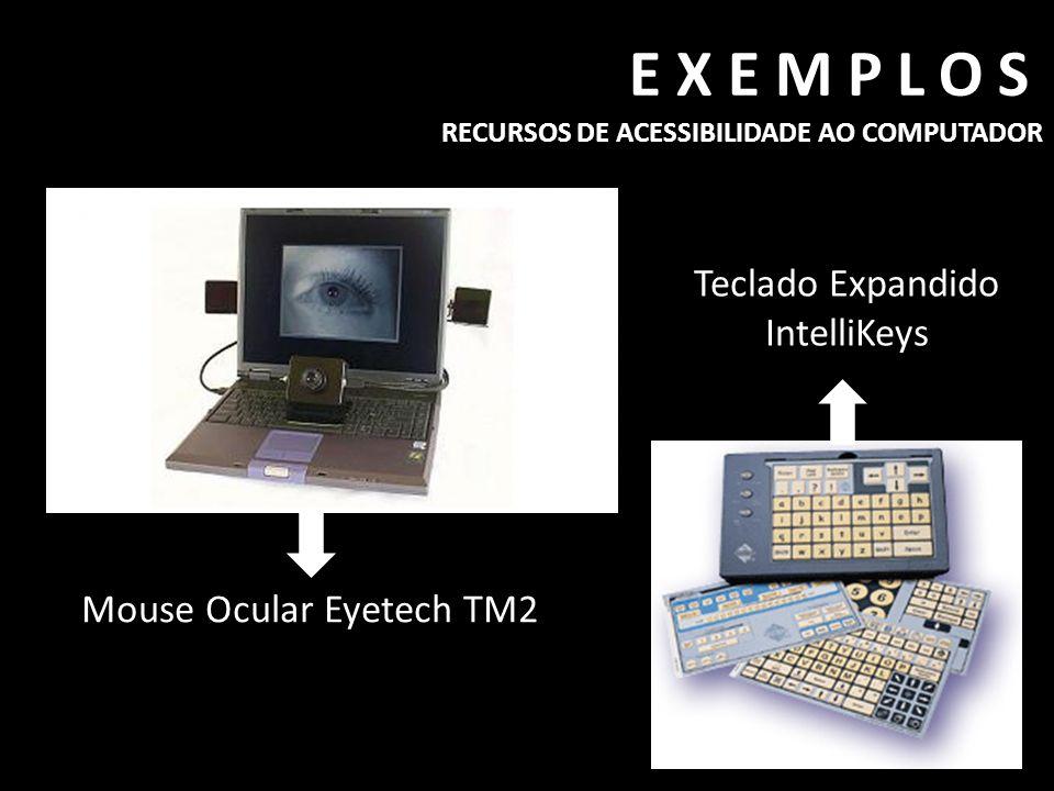 EXEMPLOS RECURSOS DE ACESSIBILIDADE AO COMPUTADOR Mouse Ocular Eyetech TM2 Teclado Expandido IntelliKeys