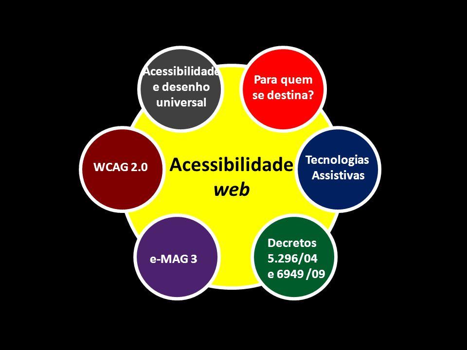 Acessibilidade web Para quem se destina? Acessibilidade e desenho universal Decretos 5.296/04 e 6949 /09 e-MAG 3 WCAG 2.0 Tecnologias Assistivas