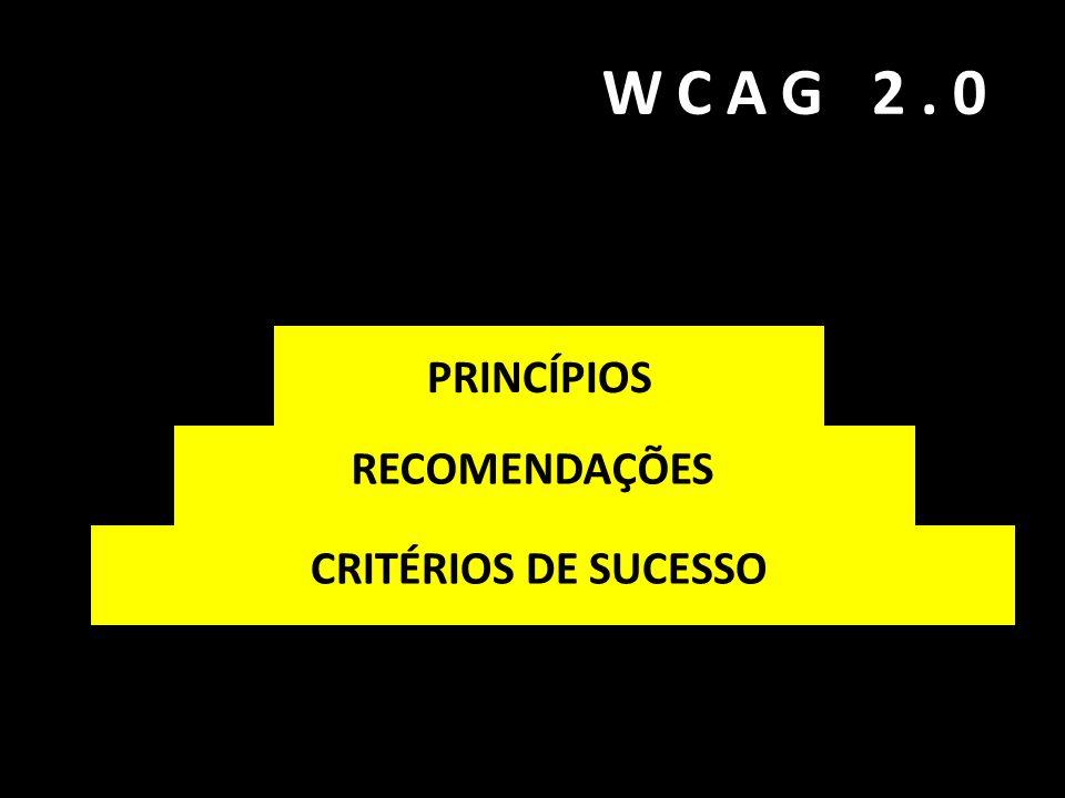 WCAG 2.0 DIRETRIZES PRINCÍPIOS RECOMENDAÇÕES CRITÉRIOS DE SUCESSO