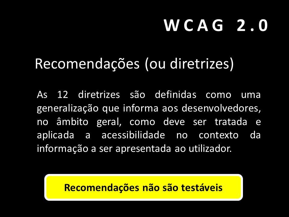 WCAG 2.0 Recomendações (ou diretrizes) As 12 diretrizes são definidas como uma generalização que informa aos desenvolvedores, no âmbito geral, como de