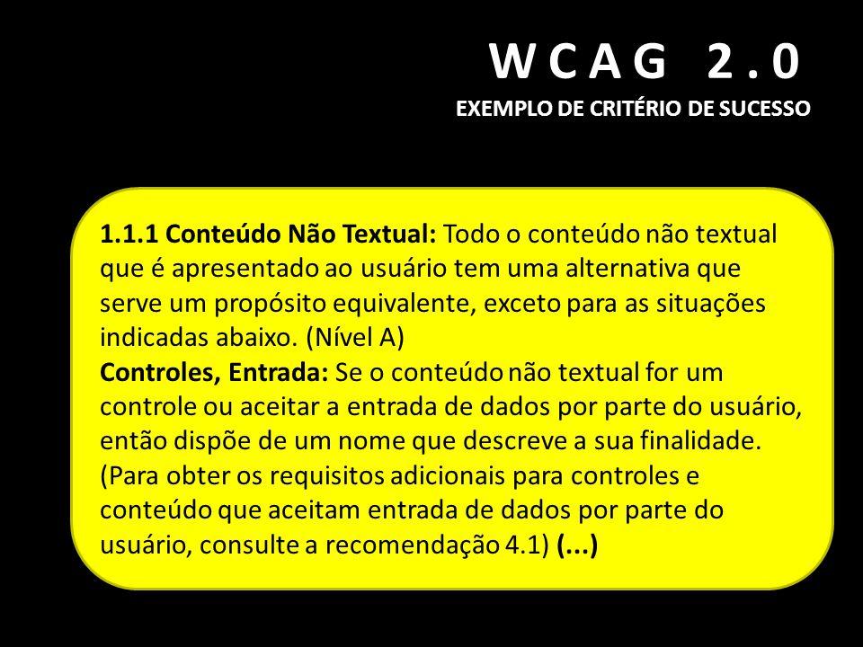 WCAG 2.0 EXEMPLO DE CRITÉRIO DE SUCESSO 1.1.1 Conteúdo Não Textual: Todo o conteúdo não textual que é apresentado ao usuário tem uma alternativa que s