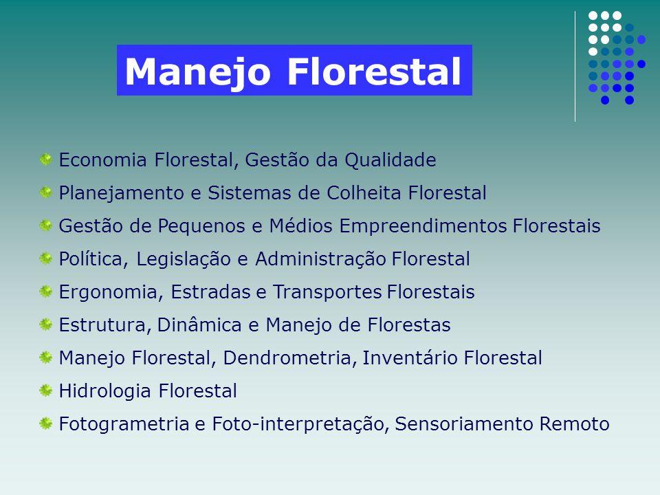 Economia Florestal, Gestão da Qualidade Planejamento e Sistemas de Colheita Florestal Gestão de Pequenos e Médios Empreendimentos Florestais Política,