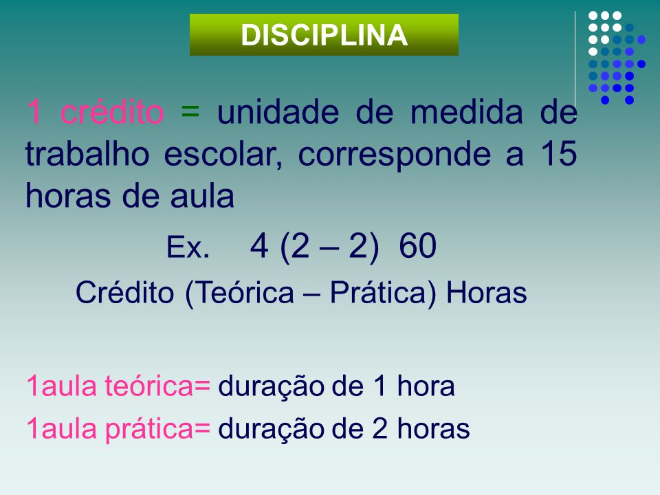 1 crédito = unidade de medida de trabalho escolar, corresponde a 15 horas de aula Ex. 4 (2 – 2) 60 Crédito (Teórica – Prática) Horas 1aula teórica= du