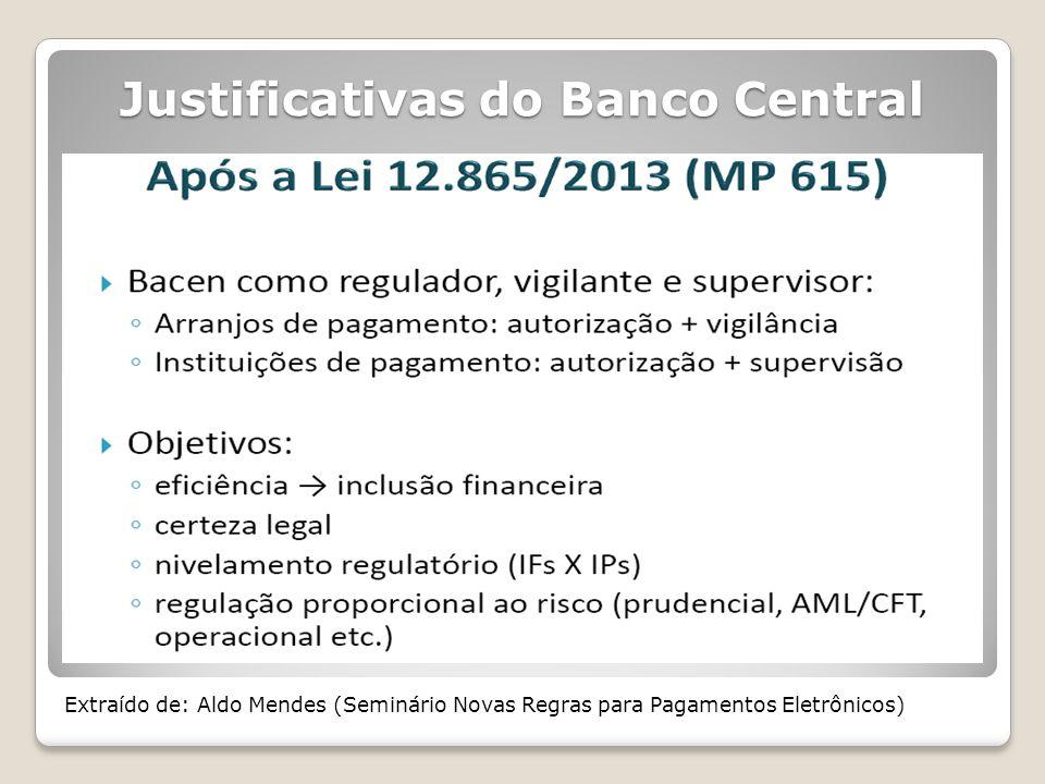 Justificativas do Banco Central Extraído de: Aldo Mendes (Seminário Novas Regras para Pagamentos Eletrônicos)