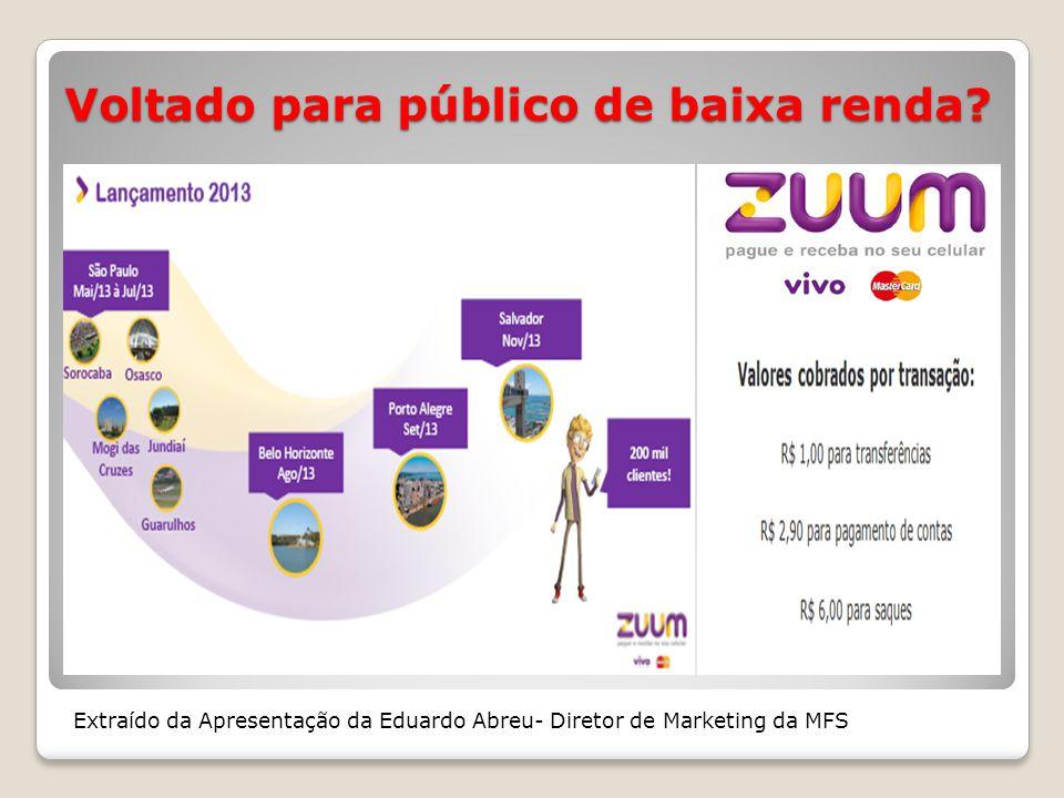 Voltado para público de baixa renda? Extraído da Apresentação da Eduardo Abreu- Diretor de Marketing da MFS