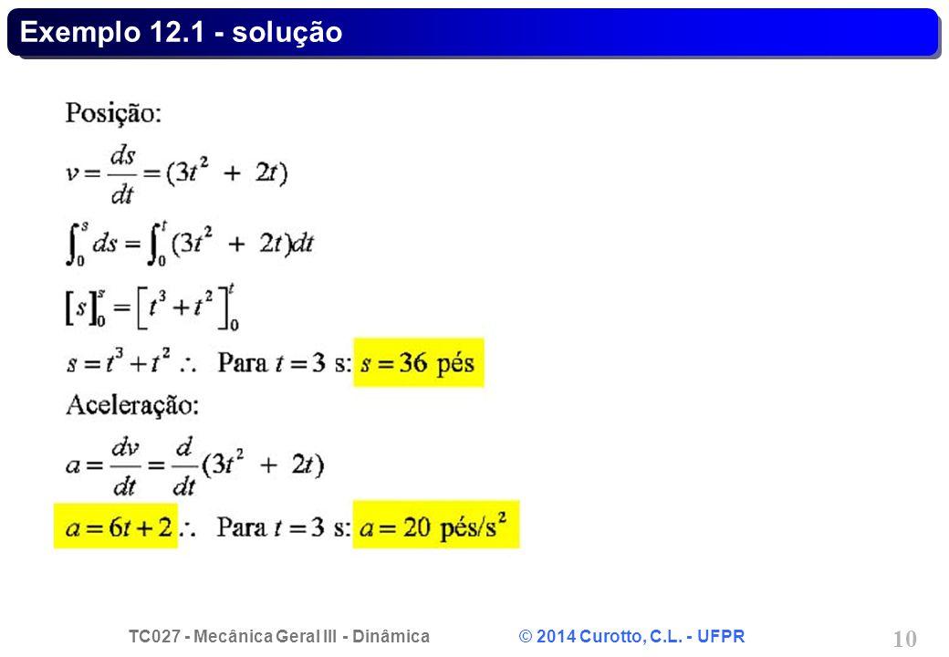 TC027 - Mecânica Geral III - Dinâmica © 2014 Curotto, C.L. - UFPR 10 Exemplo 12.1 - solução