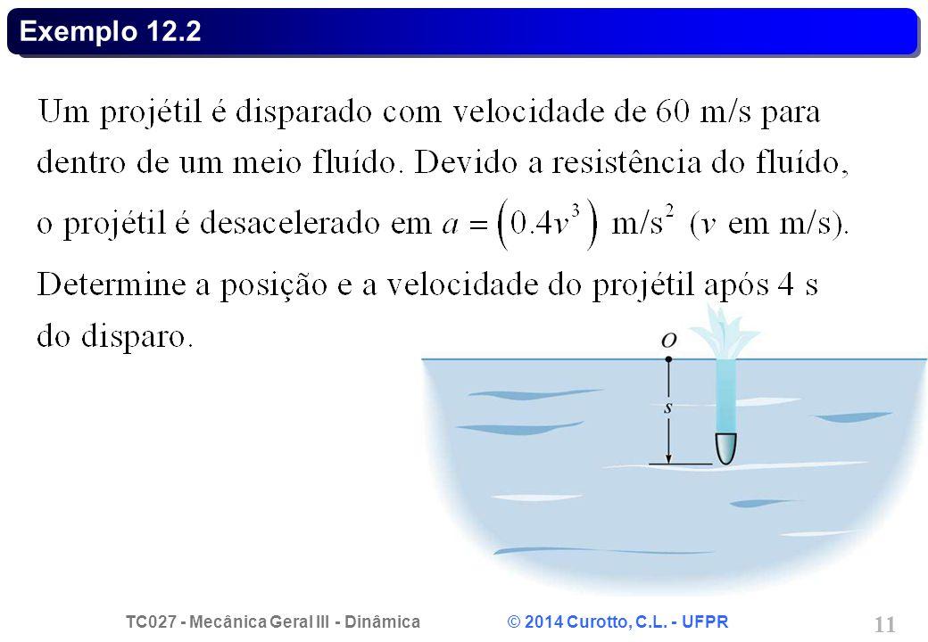 TC027 - Mecânica Geral III - Dinâmica © 2014 Curotto, C.L. - UFPR 11 Exemplo 12.2