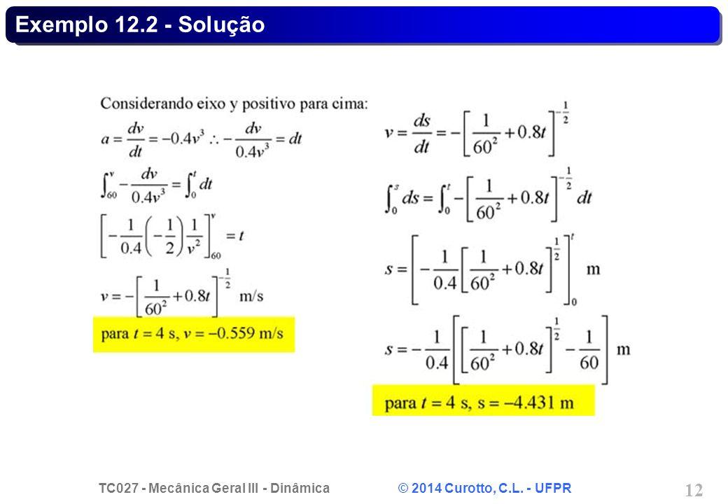 TC027 - Mecânica Geral III - Dinâmica © 2014 Curotto, C.L. - UFPR 12 Exemplo 12.2 - Solução
