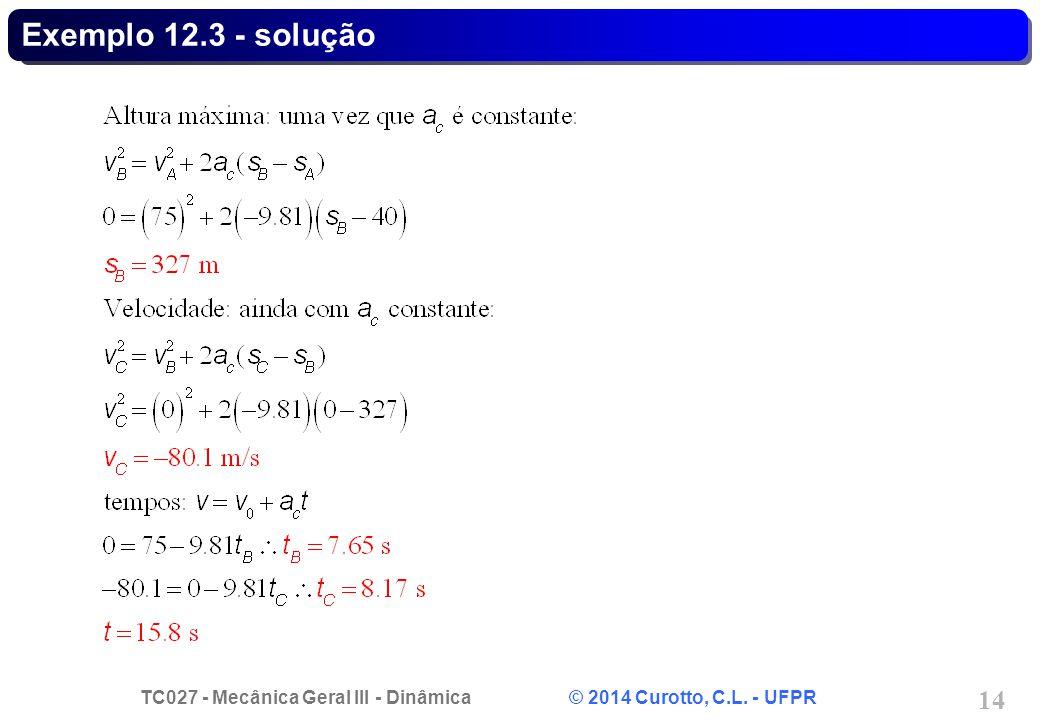 TC027 - Mecânica Geral III - Dinâmica © 2014 Curotto, C.L. - UFPR 14 Exemplo 12.3 - solução