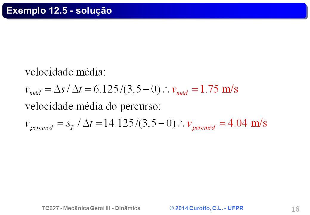 TC027 - Mecânica Geral III - Dinâmica © 2014 Curotto, C.L. - UFPR 18 Exemplo 12.5 - solução