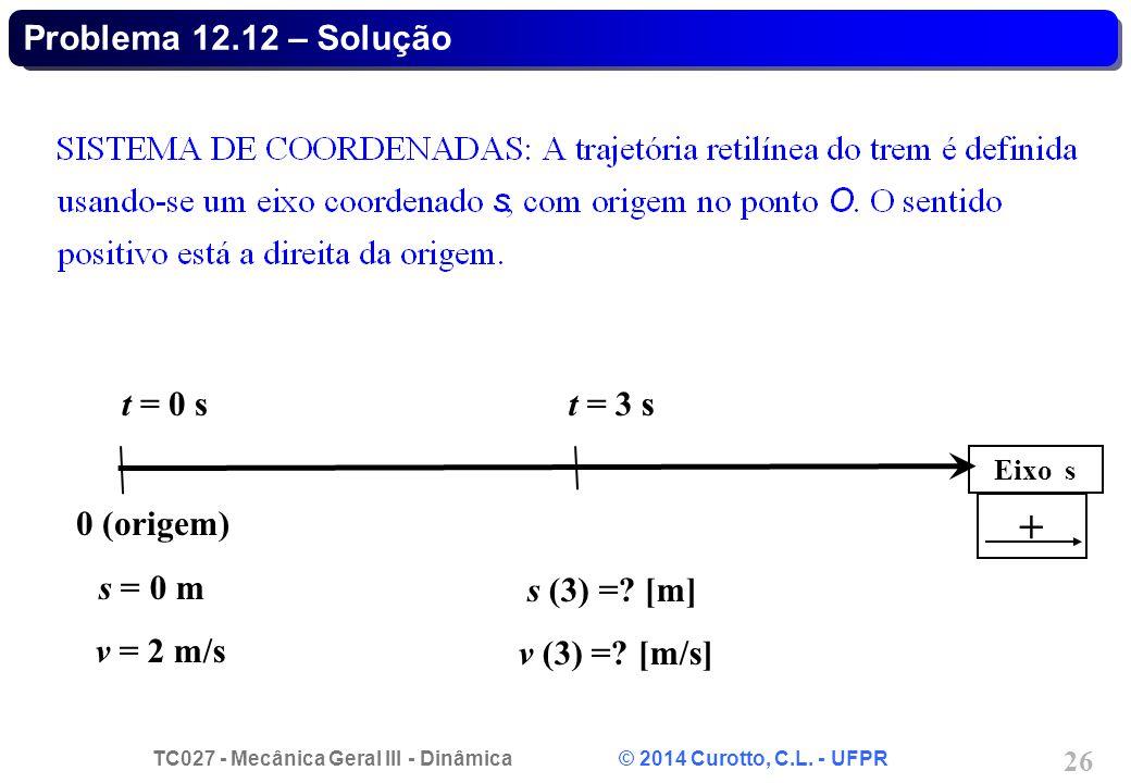 TC027 - Mecânica Geral III - Dinâmica © 2014 Curotto, C.L. - UFPR 26 Problema 12.12 – Solução Eixo s 0 (origem) s = 0 m v = 2 m/s t = 0 st = 3 s s (3)