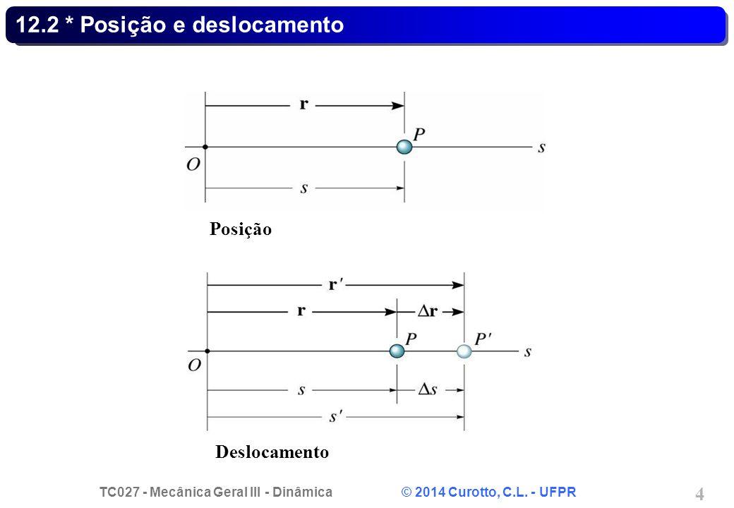 TC027 - Mecânica Geral III - Dinâmica © 2014 Curotto, C.L. - UFPR 4 12.2 * Posição e deslocamento Posição Deslocamento