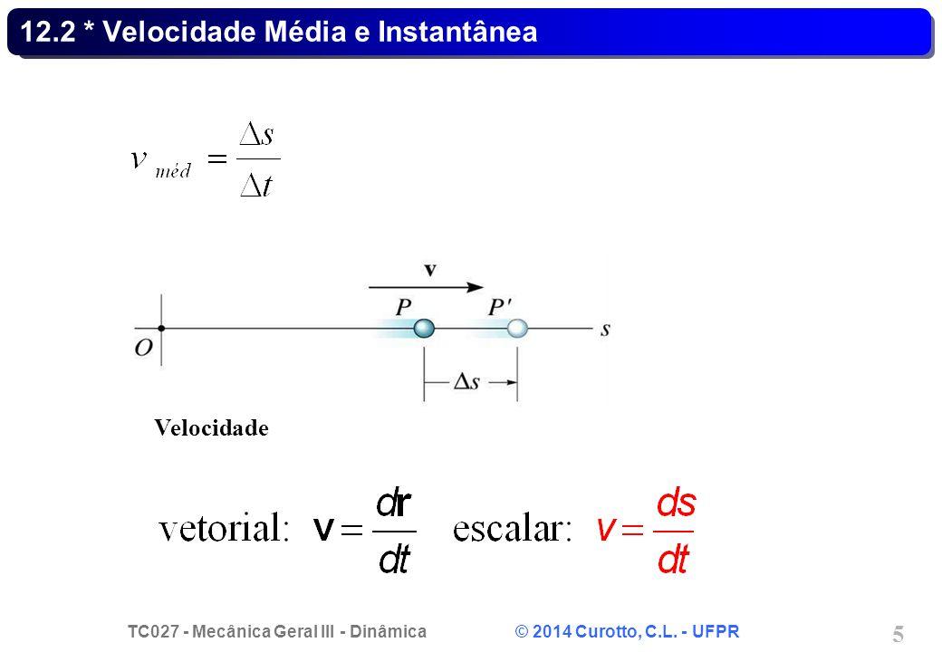 TC027 - Mecânica Geral III - Dinâmica © 2014 Curotto, C.L. - UFPR 5 12.2 * Velocidade Média e Instantânea Velocidade