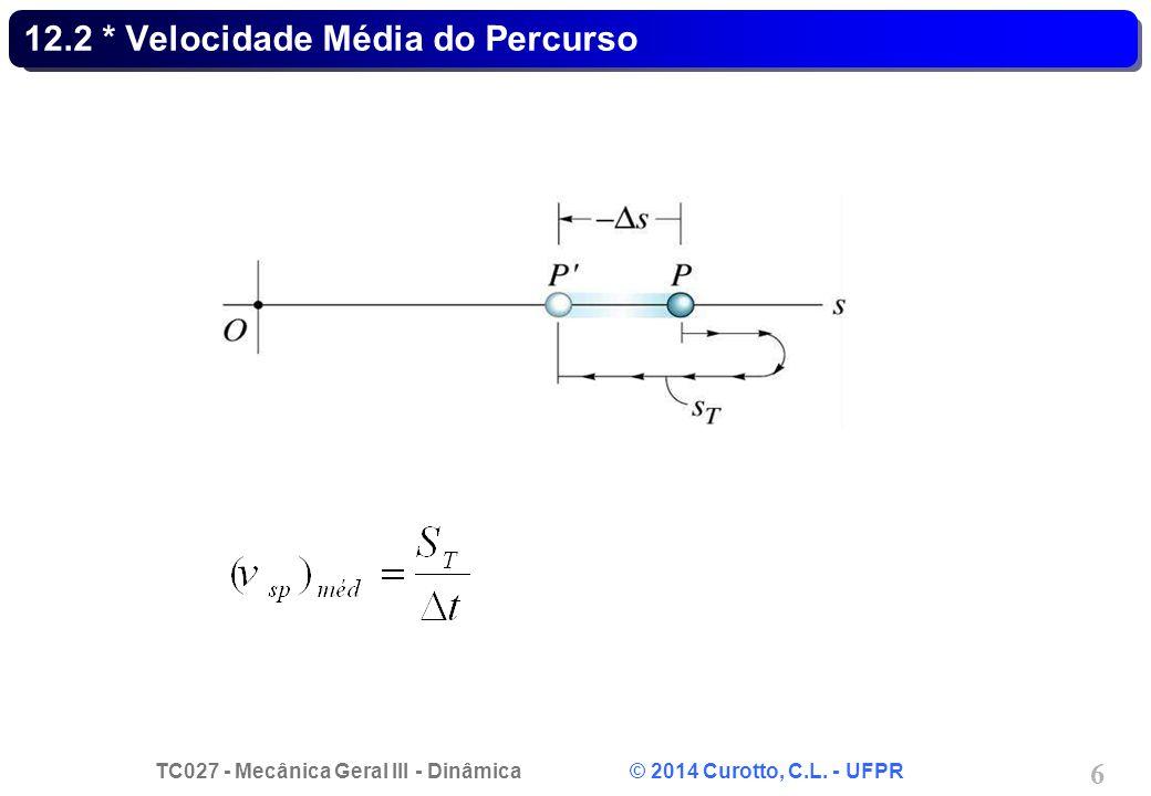 TC027 - Mecânica Geral III - Dinâmica © 2014 Curotto, C.L. - UFPR 6 12.2 * Velocidade Média do Percurso