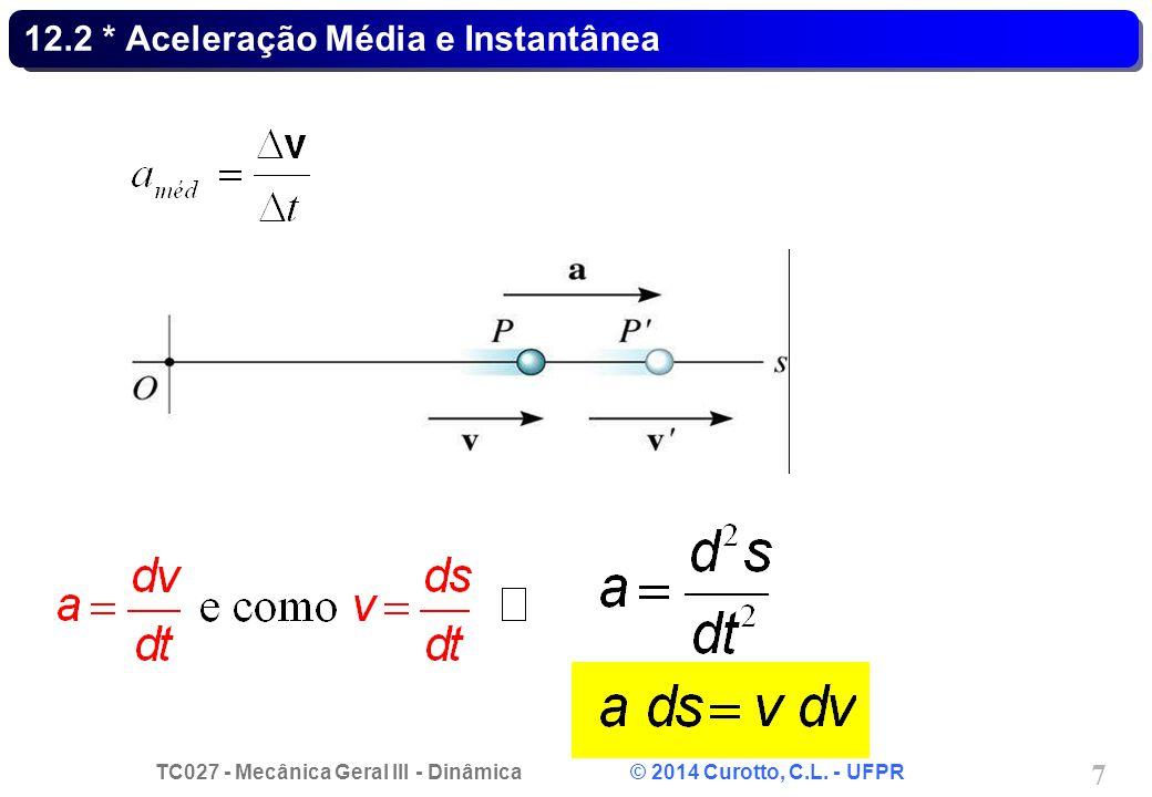 TC027 - Mecânica Geral III - Dinâmica © 2014 Curotto, C.L. - UFPR 7 12.2 * Aceleração Média e Instantânea