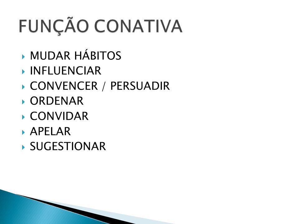  MUDAR HÁBITOS  INFLUENCIAR  CONVENCER / PERSUADIR  ORDENAR  CONVIDAR  APELAR  SUGESTIONAR