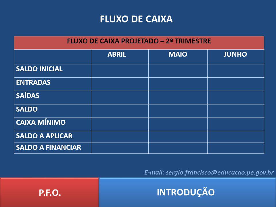 FLUXO DE CAIXA P.F.O. INTRODUÇÃO E-mail: sergio.francisco@educacao.pe.gov.br FLUXO DE CAIXA PROJETADO – 2º TRIMESTRE ABRILMAIOJUNHO SALDO INICIAL ENTR