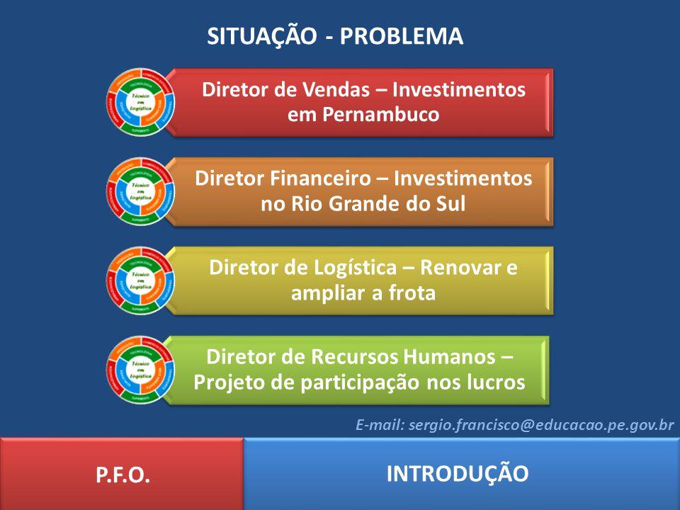 SITUAÇÃO - PROBLEMA P.F.O. INTRODUÇÃO E-mail: sergio.francisco@educacao.pe.gov.br Diretor de Vendas – Investimentos em Pernambuco Diretor Financeiro –