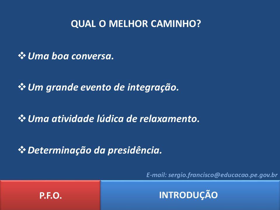 QUAL O MELHOR CAMINHO.P.F.O.