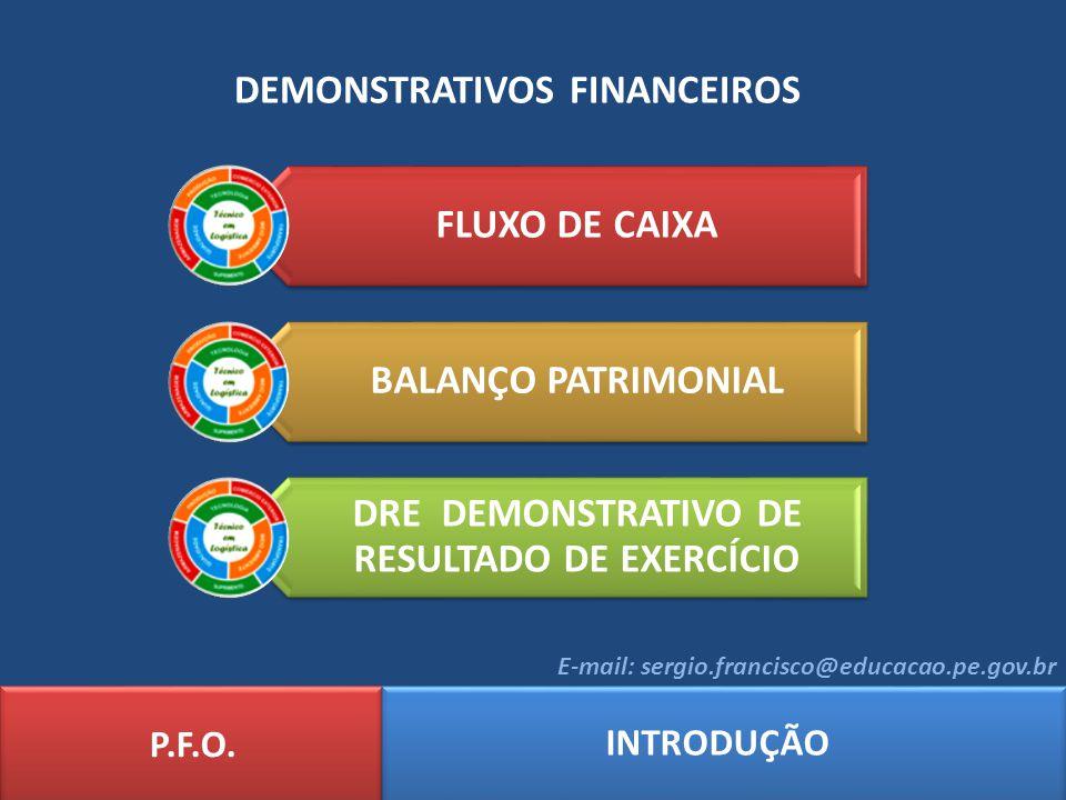 DEMONSTRATIVOS FINANCEIROS P.F.O. INTRODUÇÃO E-mail: sergio.francisco@educacao.pe.gov.br FLUXO DE CAIXA BALANÇO PATRIMONIAL DRE DEMONSTRATIVO DE RESUL