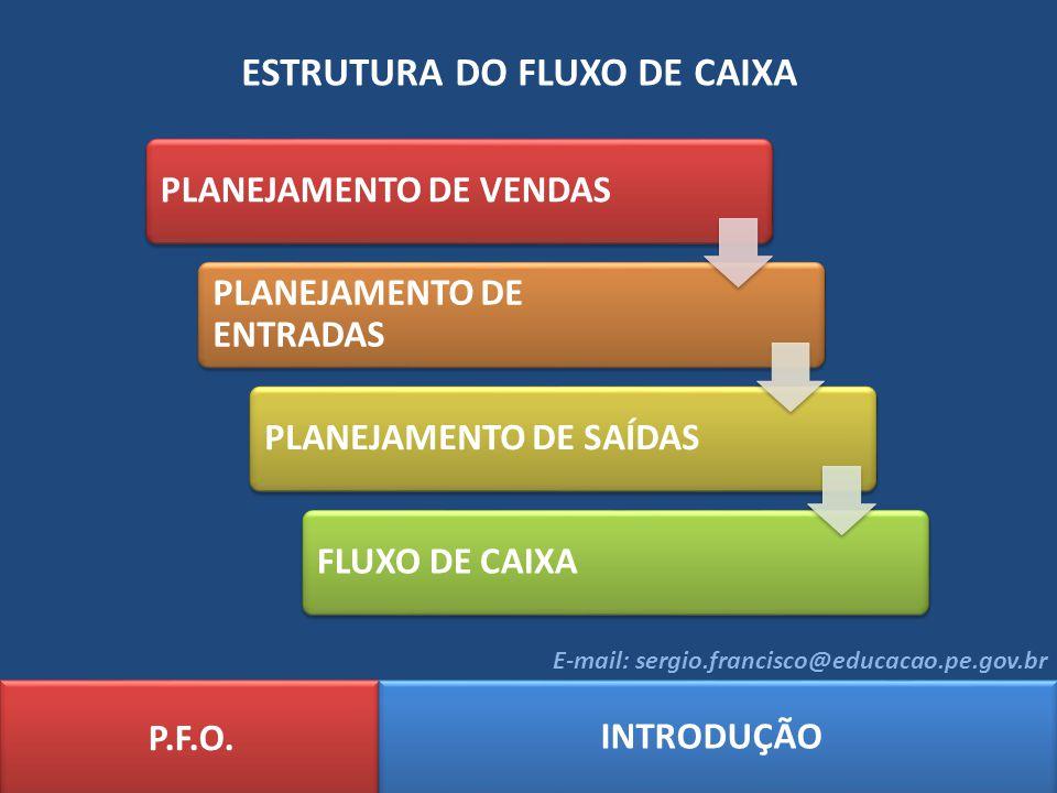 ESTRUTURA DO FLUXO DE CAIXA P.F.O. INTRODUÇÃO E-mail: sergio.francisco@educacao.pe.gov.br PLANEJAMENTO DE VENDAS PLANEJAMENTO DE ENTRADAS PLANEJAMENTO