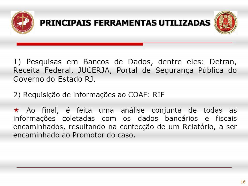 16 1) Pesquisas em Bancos de Dados, dentre eles: Detran, Receita Federal, JUCERJA, Portal de Segurança Pública do Governo do Estado RJ. 2) Requisição