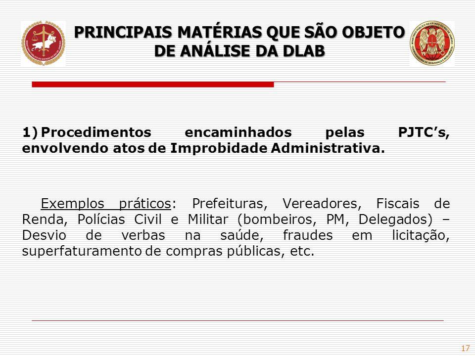 17 1)Procedimentos encaminhados pelas PJTC's, envolvendo atos de Improbidade Administrativa. Exemplos práticos: Prefeituras, Vereadores, Fiscais de Re