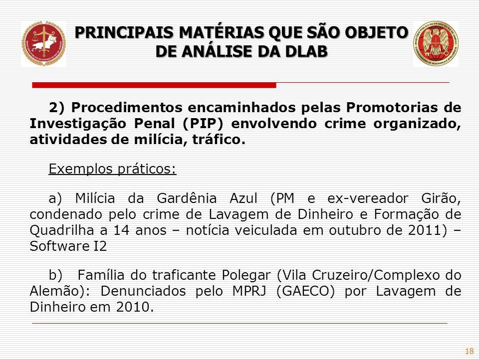 18 2) Procedimentos encaminhados pelas Promotorias de Investigação Penal (PIP) envolvendo crime organizado, atividades de milícia, tráfico. Exemplos p
