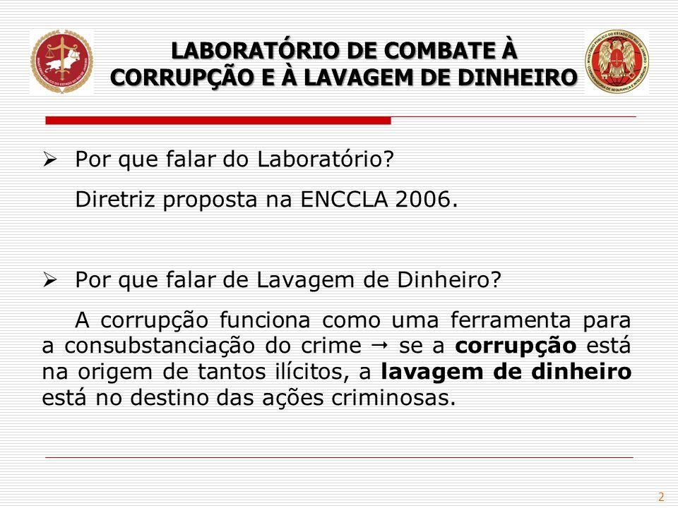 2  Por que falar do Laboratório? Diretriz proposta na ENCCLA 2006.  Por que falar de Lavagem de Dinheiro? A corrupção funciona como uma ferramenta p