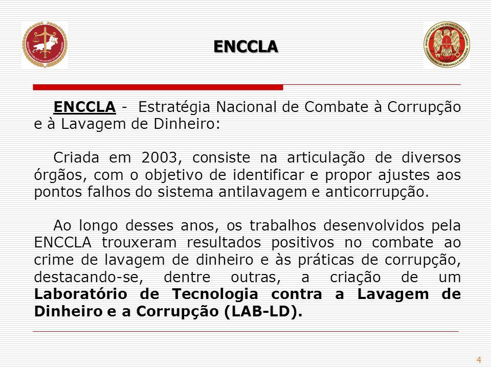4 ENCCLA - Estratégia Nacional de Combate à Corrupção e à Lavagem de Dinheiro: Criada em 2003, consiste na articulação de diversos órgãos, com o objet