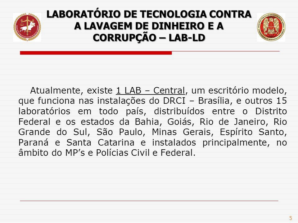 5 Atualmente, existe 1 LAB – Central, um escritório modelo, que funciona nas instalações do DRCI – Brasília, e outros 15 laboratórios em todo país, di