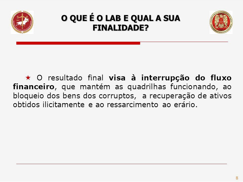 8  O resultado final visa à interrupção do fluxo financeiro, que mantém as quadrilhas funcionando, ao bloqueio dos bens dos corruptos, a recuperação