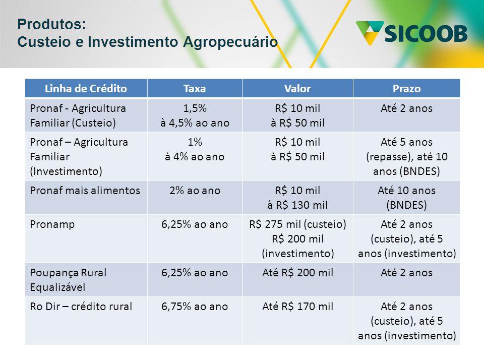 Produtos: Custeio e Investimento Agropecuário Linha de CréditoTaxaValorPrazo Pronaf - Agricultura Familiar (Custeio) 1,5% à 4,5% ao ano R$ 10 mil à R$ 50 mil Até 2 anos Pronaf – Agricultura Familiar (Investimento) 1% à 4% ao ano R$ 10 mil à R$ 50 mil Até 5 anos (repasse), até 10 anos (BNDES) Pronaf mais alimentos2% ao anoR$ 10 mil à R$ 130 mil Até 10 anos (BNDES) Pronamp6,25% ao anoR$ 275 mil (custeio) R$ 200 mil (investimento) Até 2 anos (custeio), até 5 anos (investimento) Poupança Rural Equalizável 6,25% ao anoAté R$ 200 milAté 2 anos Ro Dir – crédito rural6,75% ao anoAté R$ 170 milAté 2 anos (custeio), até 5 anos (investimento)