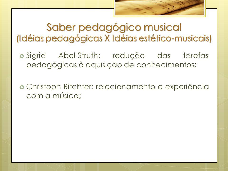 Saber pedagógico musical (Idéias pedagógicas X Idéias estético-musicais)  Sigrid Abel-Struth: redução das tarefas pedagógicas à aquisição de conhecimentos;  Christoph Ritchter: relacionamento e experiência com a música;
